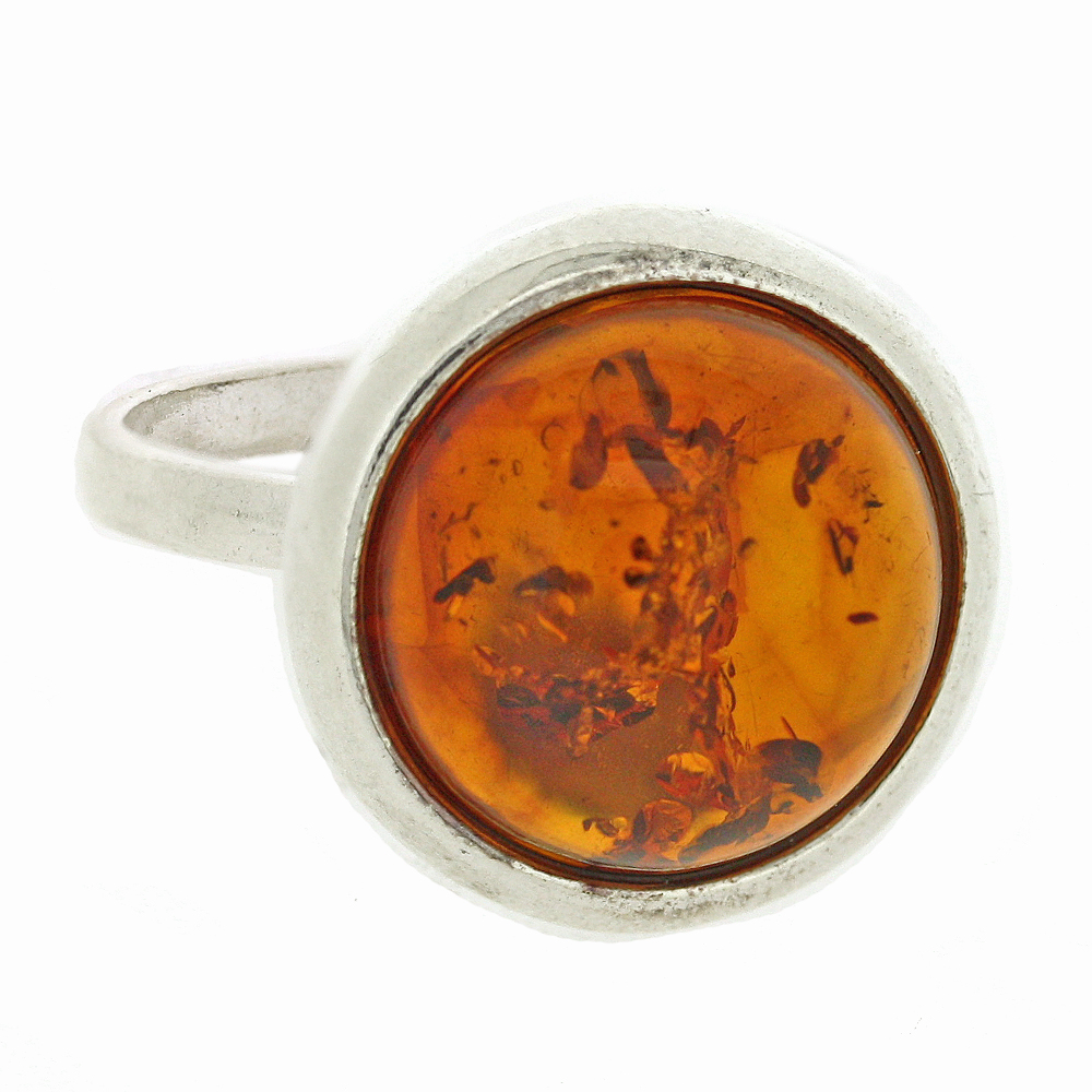 Classic Amber Large Flower Back Ring