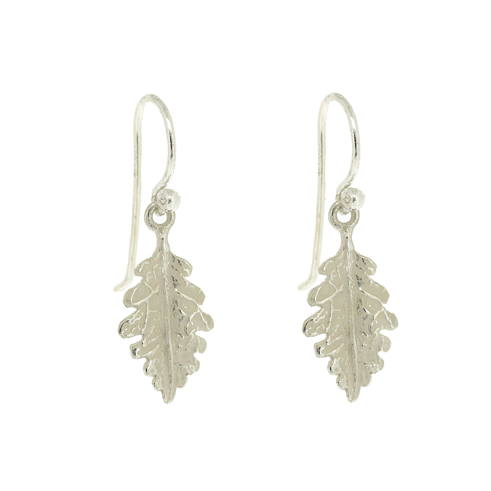 Kitten Oak Leaf Drop Earrings