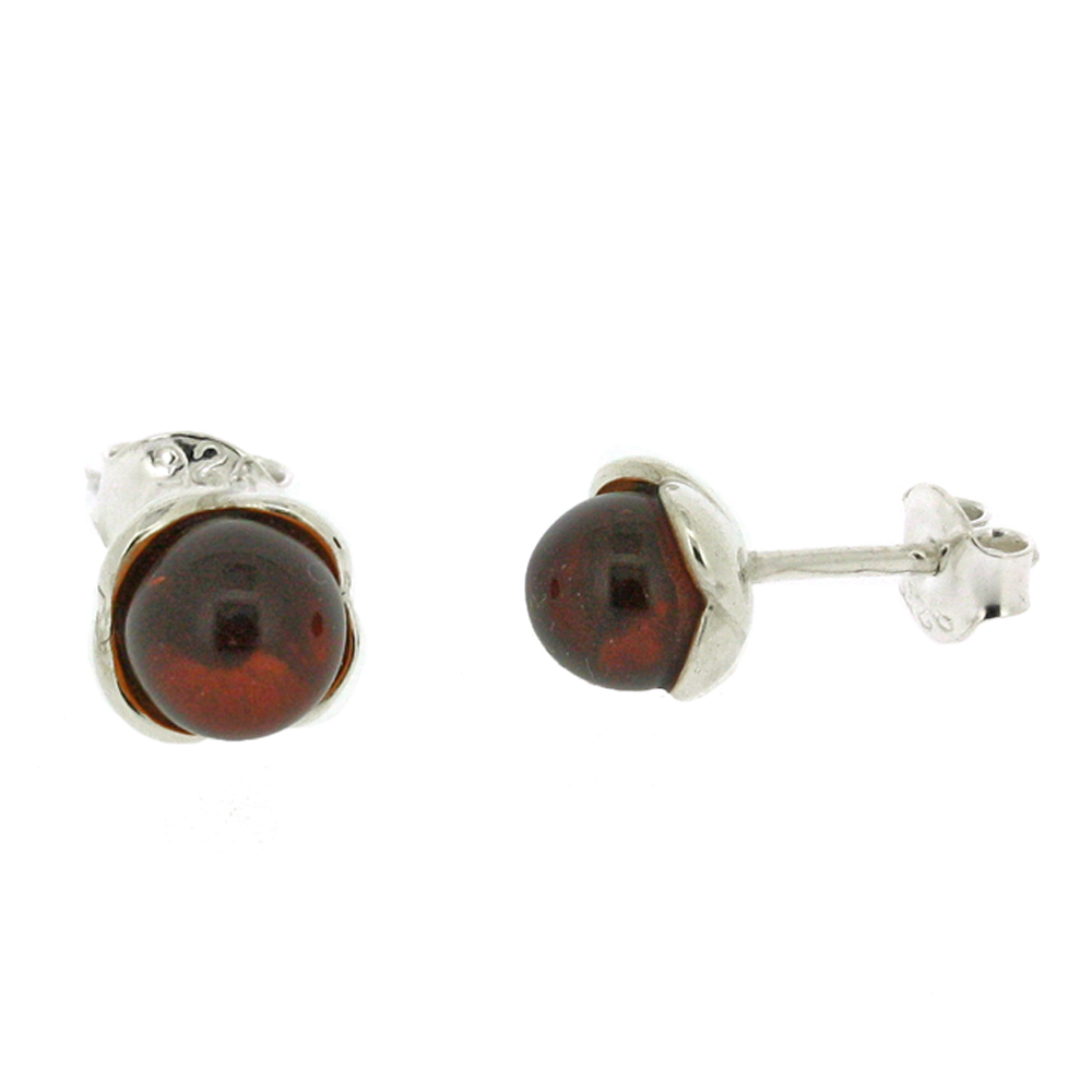Classic Amber Sphere Studs