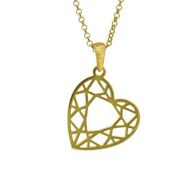 Geo Diamonds Heart Cut Pendant
