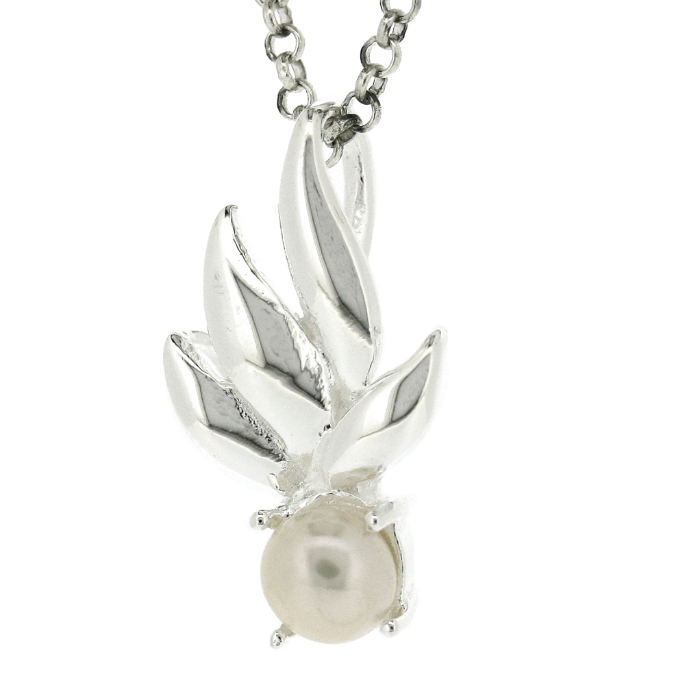 Kitten Spring Leaves Pearl Pendant