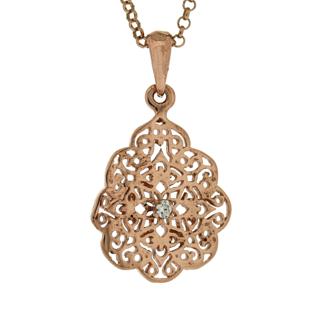 Lace Crystal Rose Gold Plated Pendant