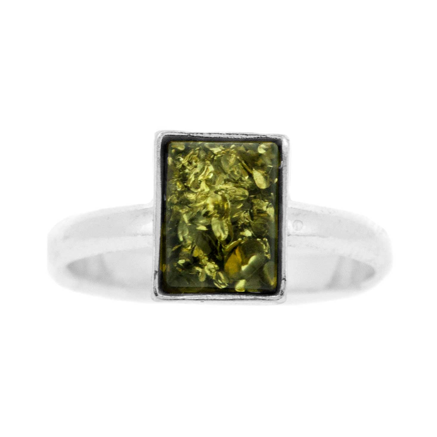 Classic Amber Rectangle Amber Ring