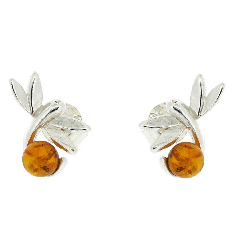 Classic Amber Dragonfly Studs