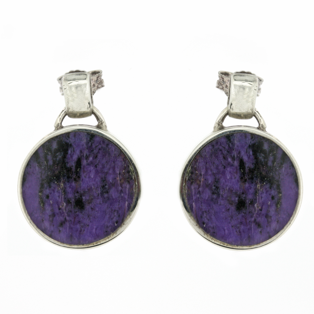 Fervour Charoite Round Earrings