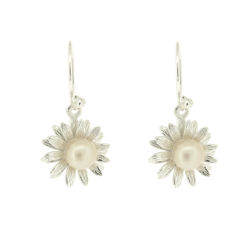 Kitten Pearl Sunflower Earrings