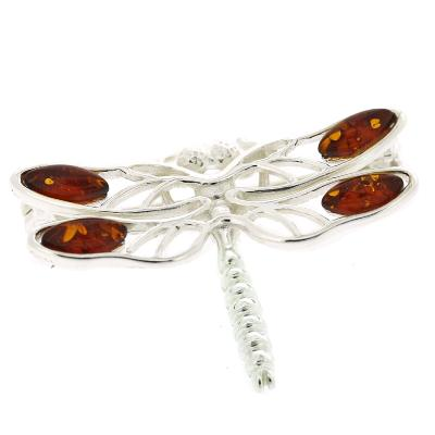 Classic Amber Dragonfly Brooch