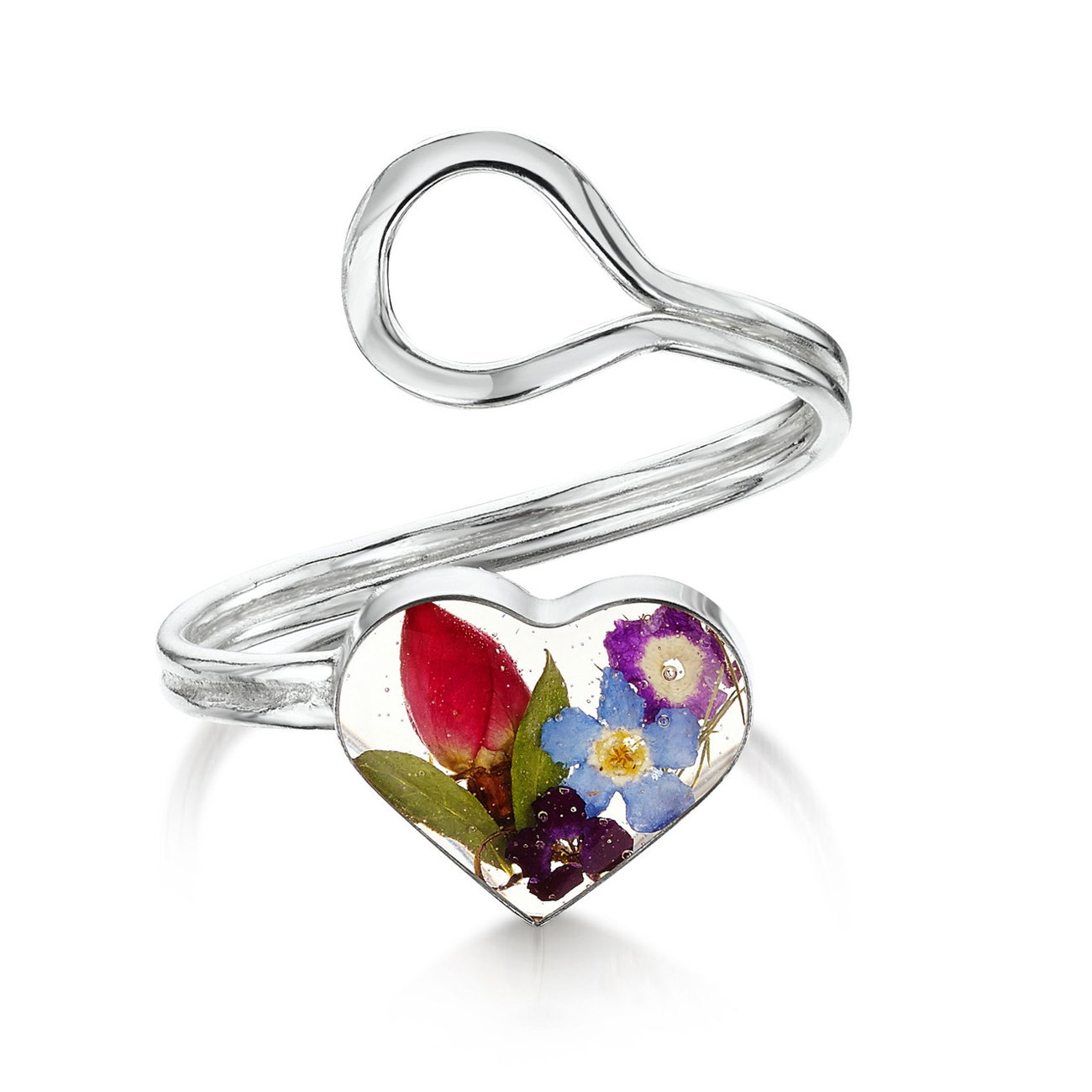 Shrieking Violet Mixed Flower Heart Ring