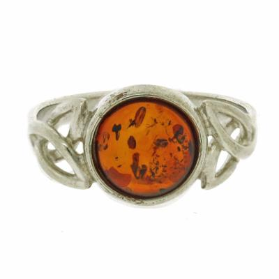 Classic Amber Celtic Ring