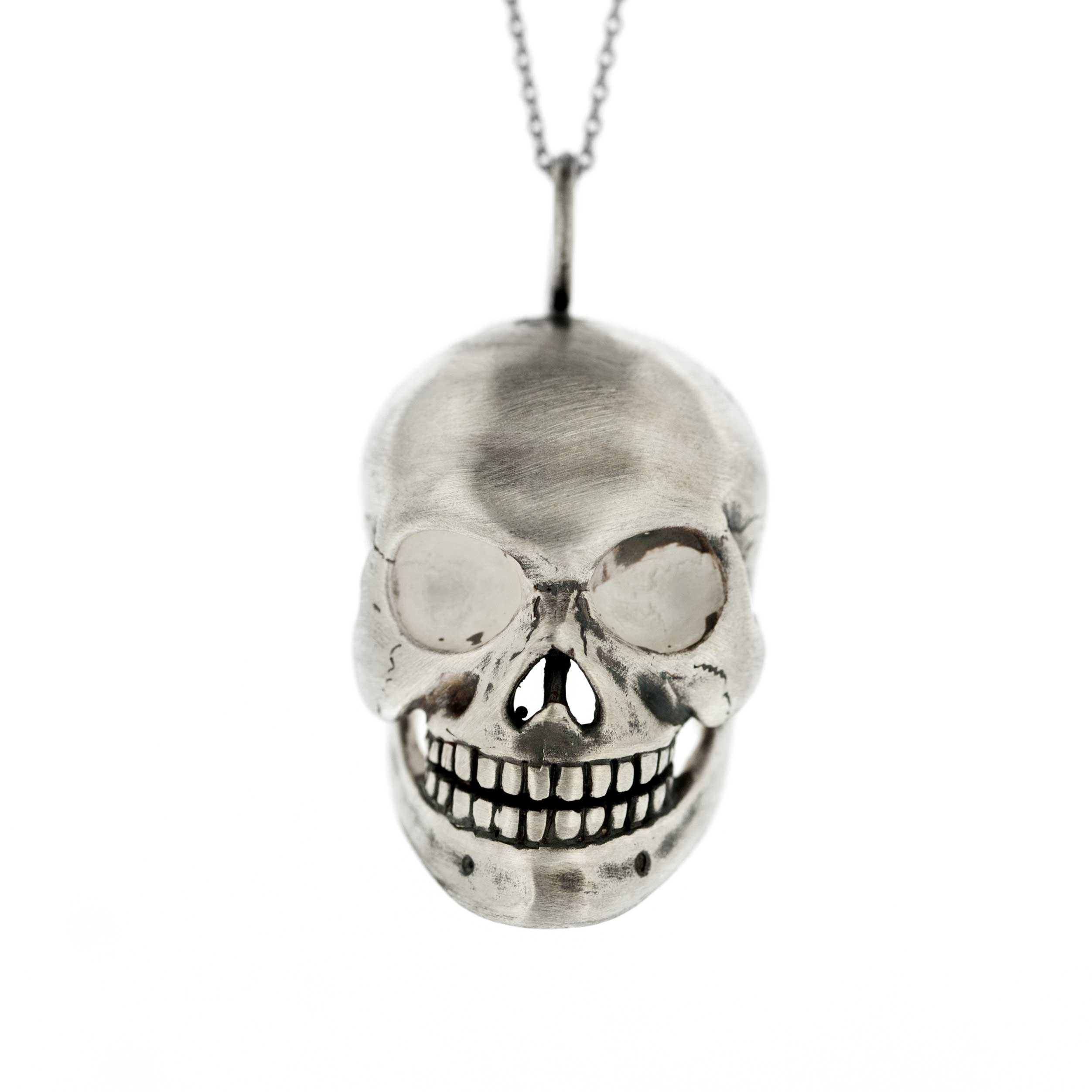 Tooth and Claw Large Human Skull Pendant