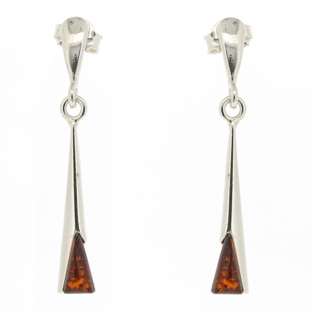 Classic Amber Cognac Torch Earrings
