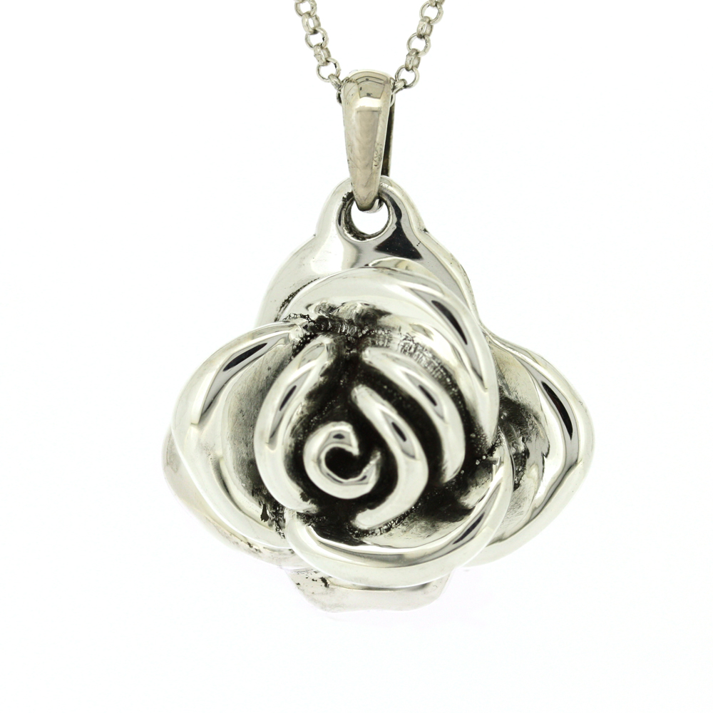 Simply Silver Large Rose Pendant