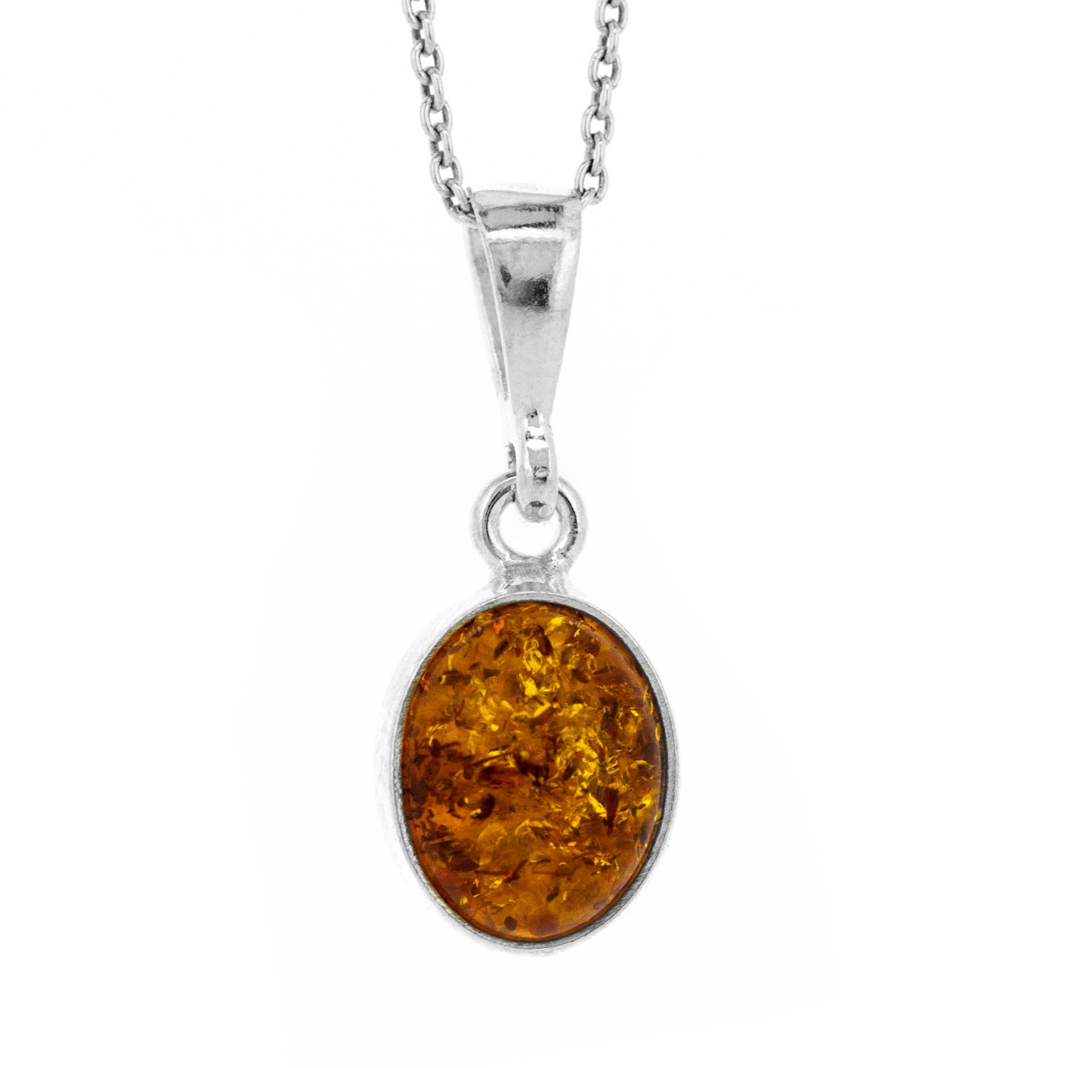 Classic Amber Small Oval Pendant