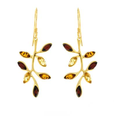 Classic Amber Branch & Leaves Drop Earrings
