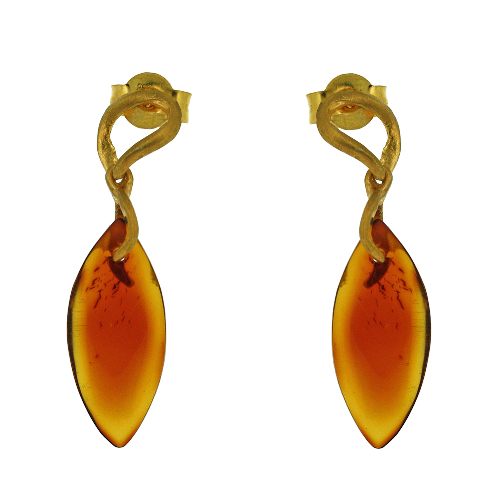 Amber Art Raindrop Earrings