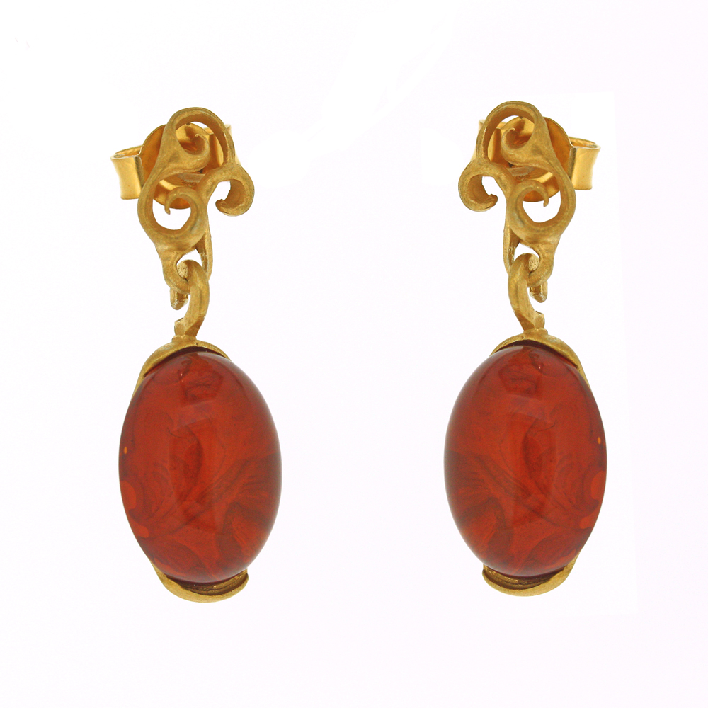 Amber Art Baroque Drop Earrings