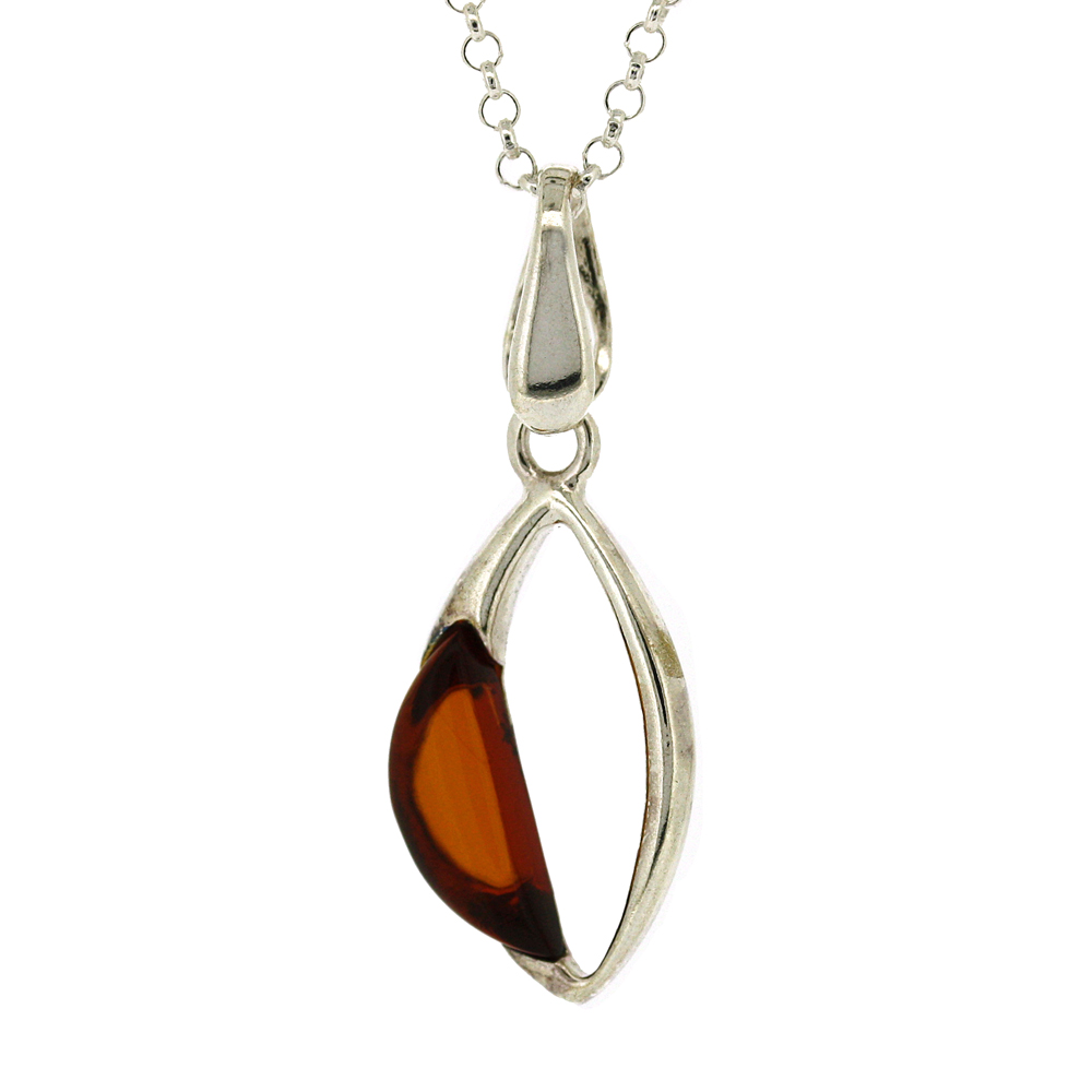 classic Amber Open Marquise Pendant