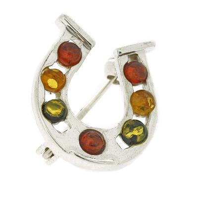 Classic Amber Mixed Horseshoe Brooch