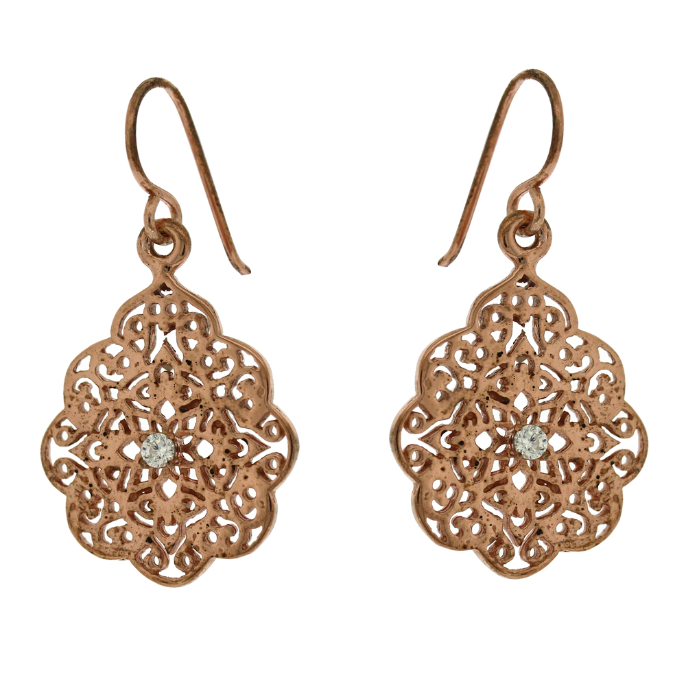Lace Crystal Rose Gold Plated Earrings