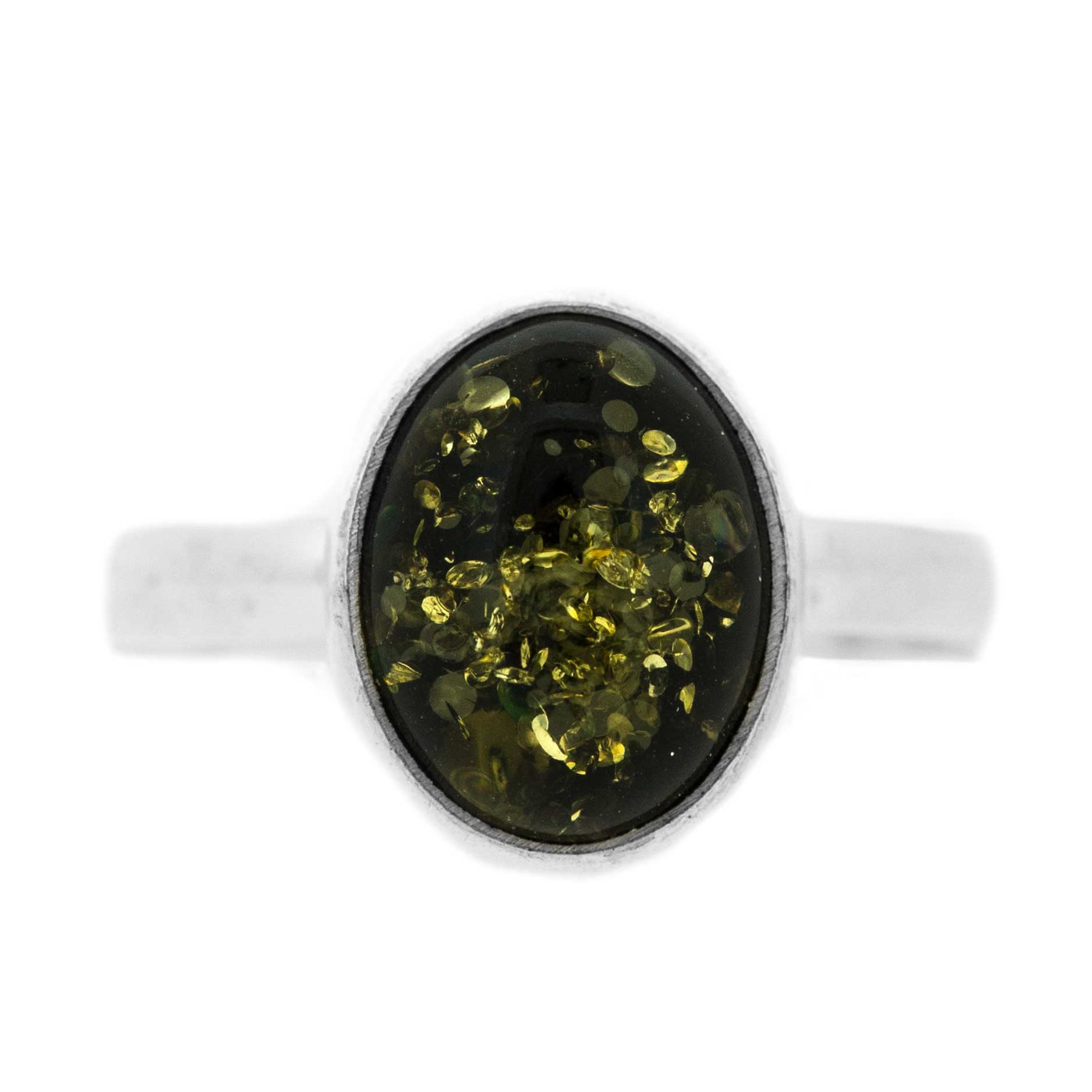 Classic Amber Green Amber Ring