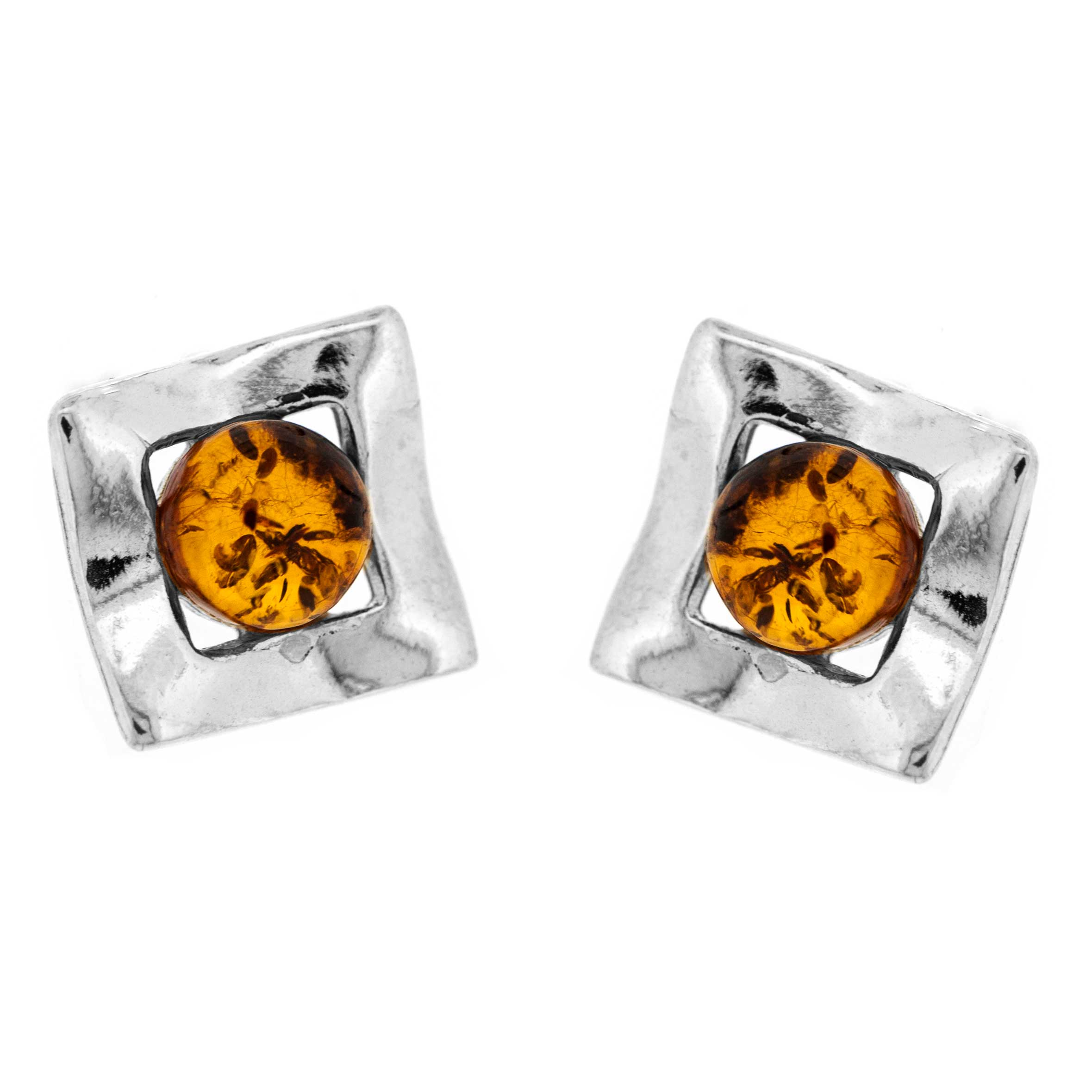 Classic Amber Square Studs