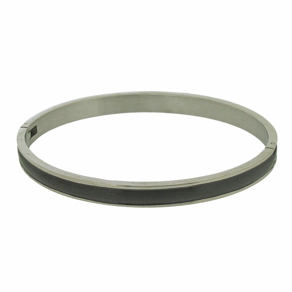 Nova Steel Black Bangle