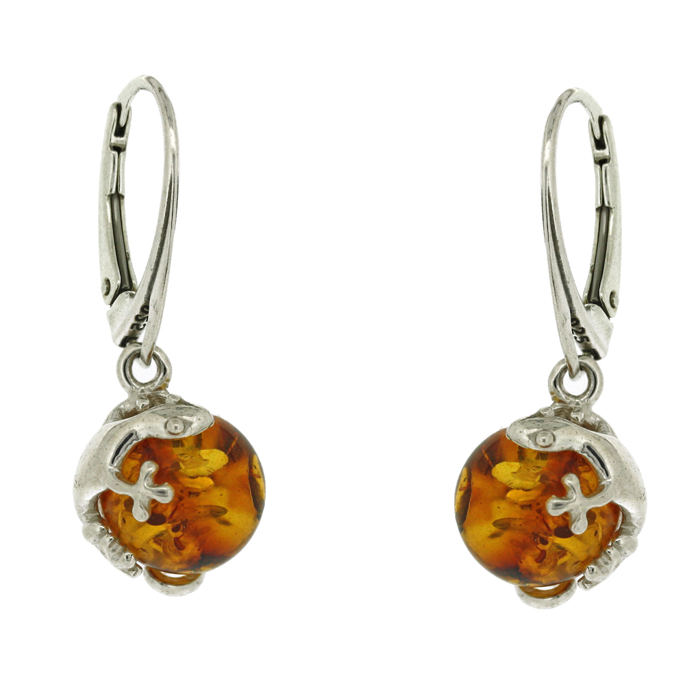 Classic Amber Bead Gecko Earrings
