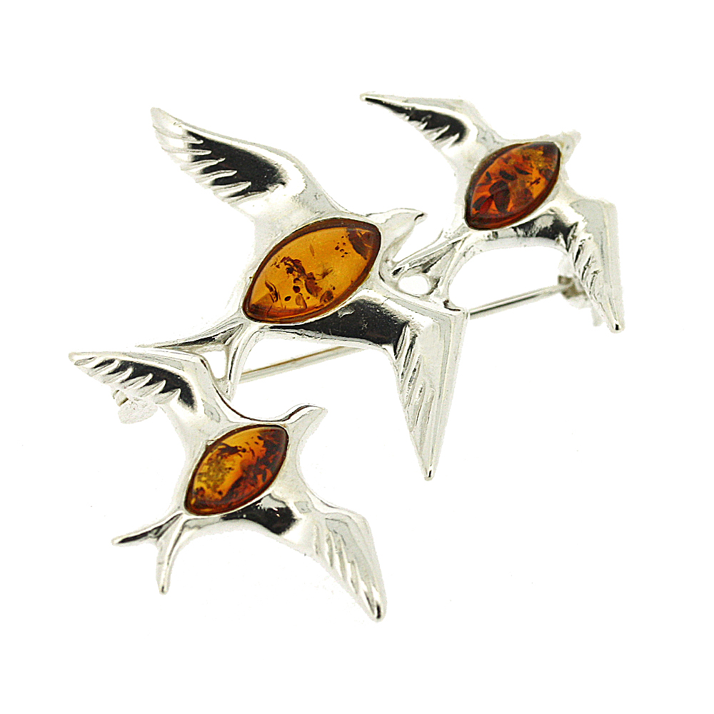 Classic Amber Mixed Swallow Brooch