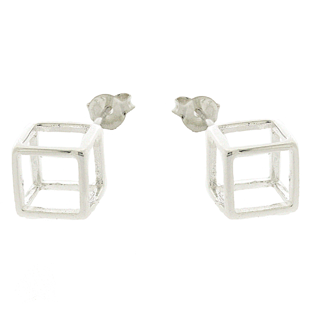 Kitten Geometric Cube Stud Earrings