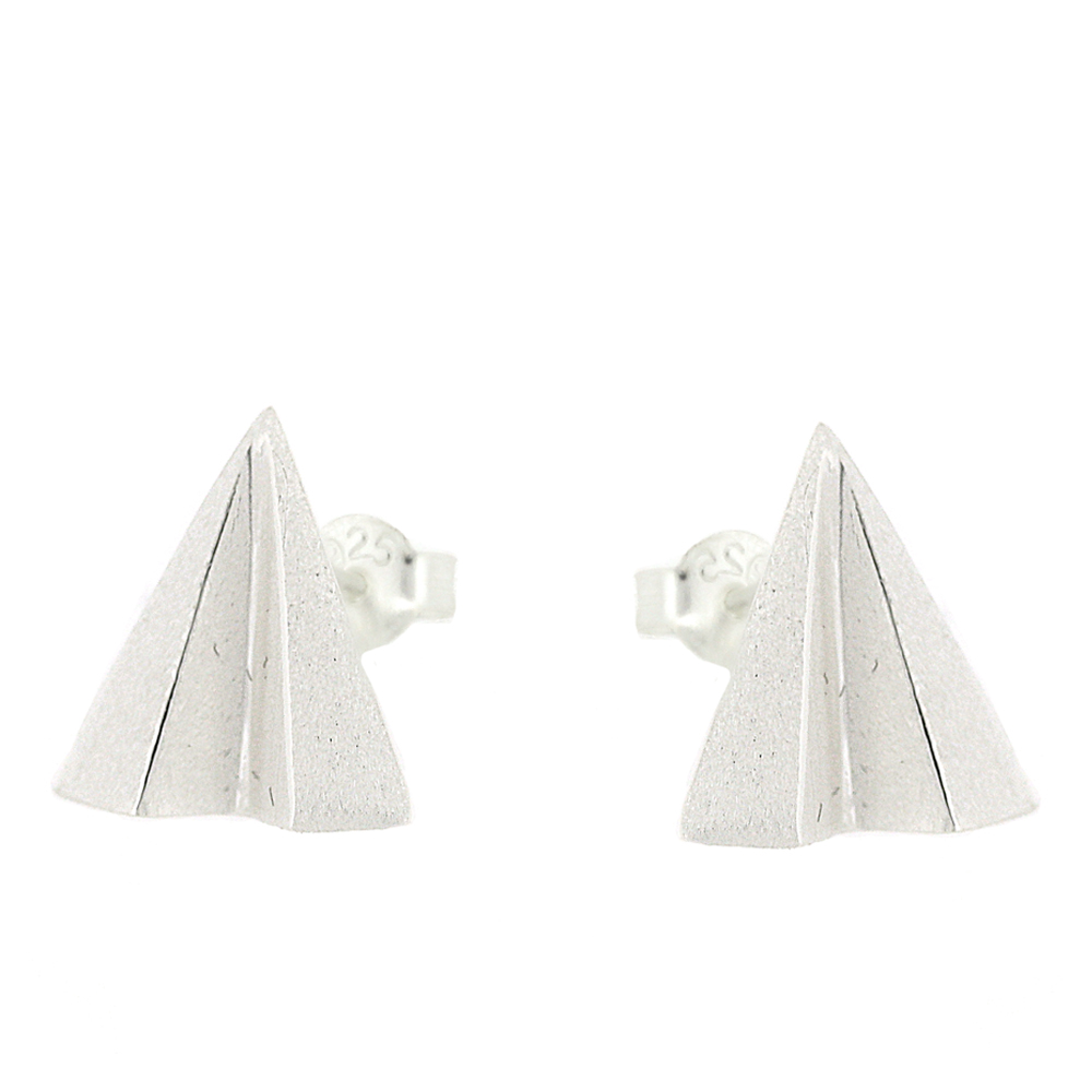 Kitten Paper Airplane Stud Earrings