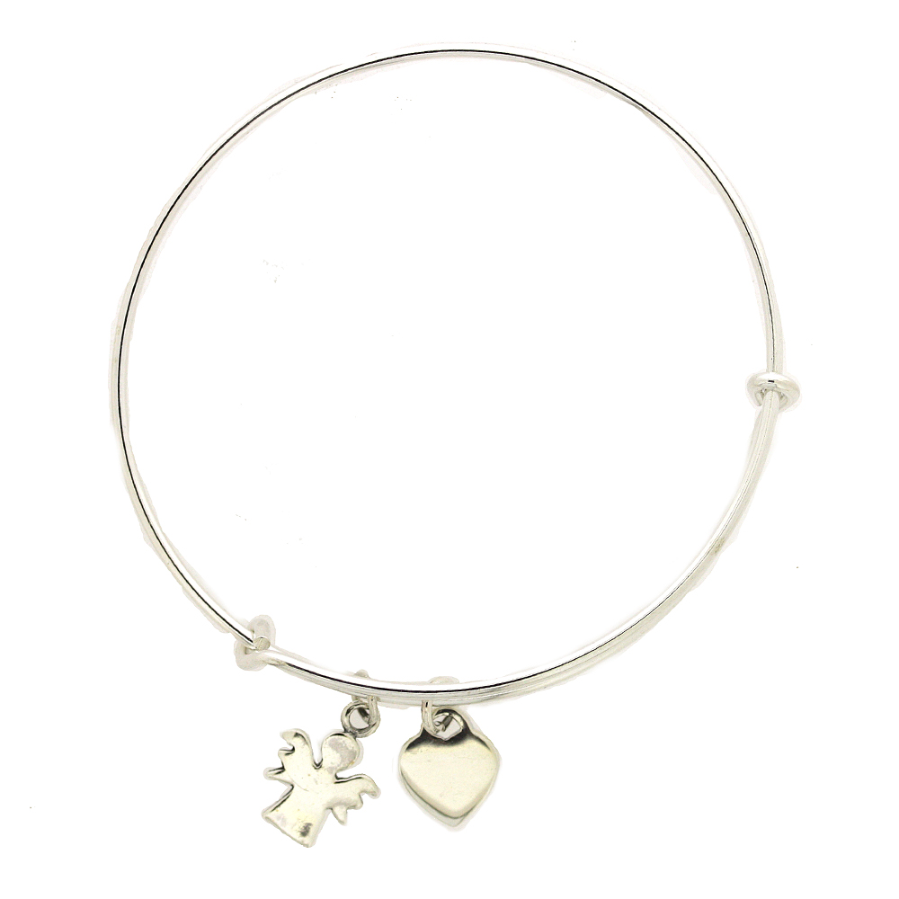 Simply Silver Heart and Angel Bangle
