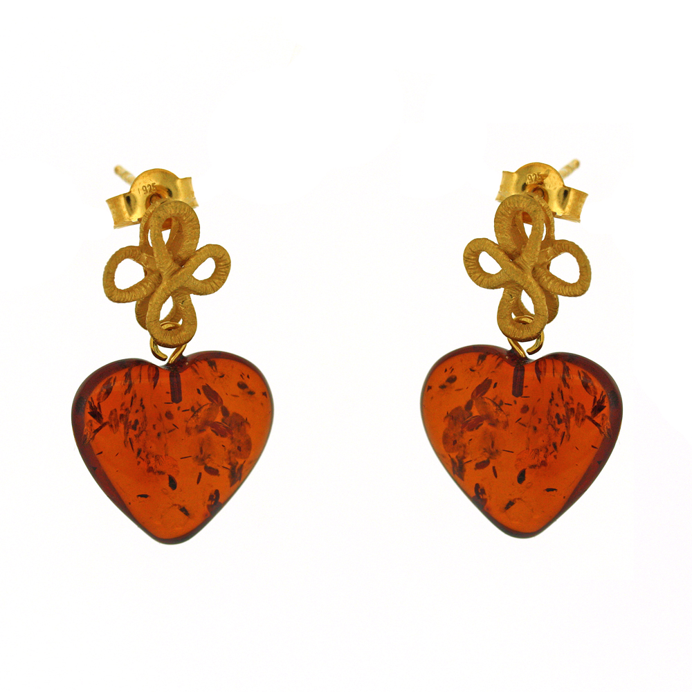 Amber Art Eternity Knot Heart Earrings