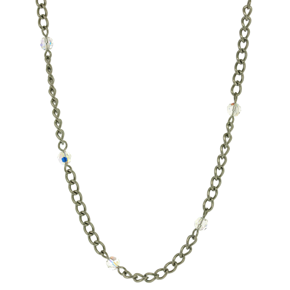 Nova Steel Linked Necklace with Crystals