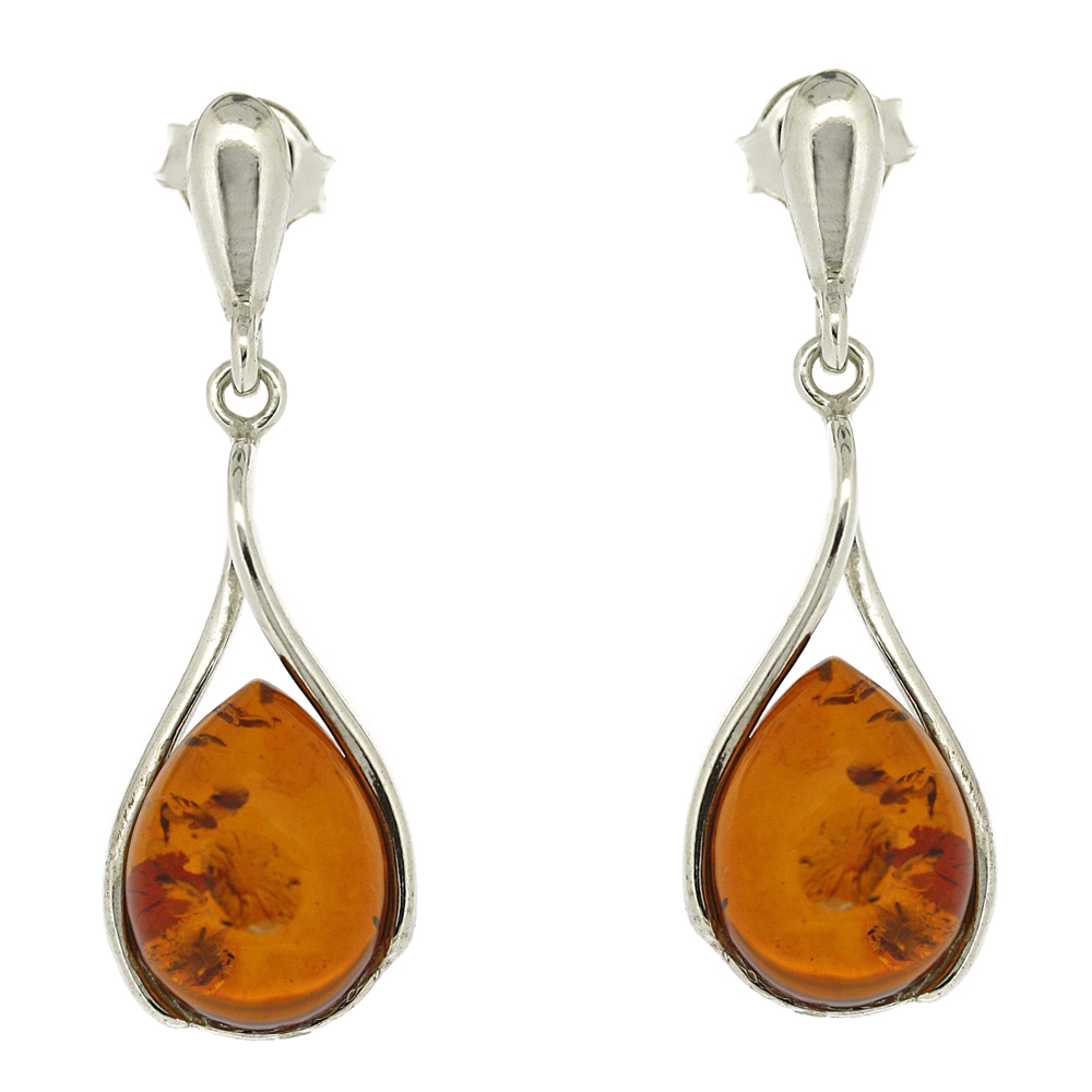 Classic Amber Tear Earrings