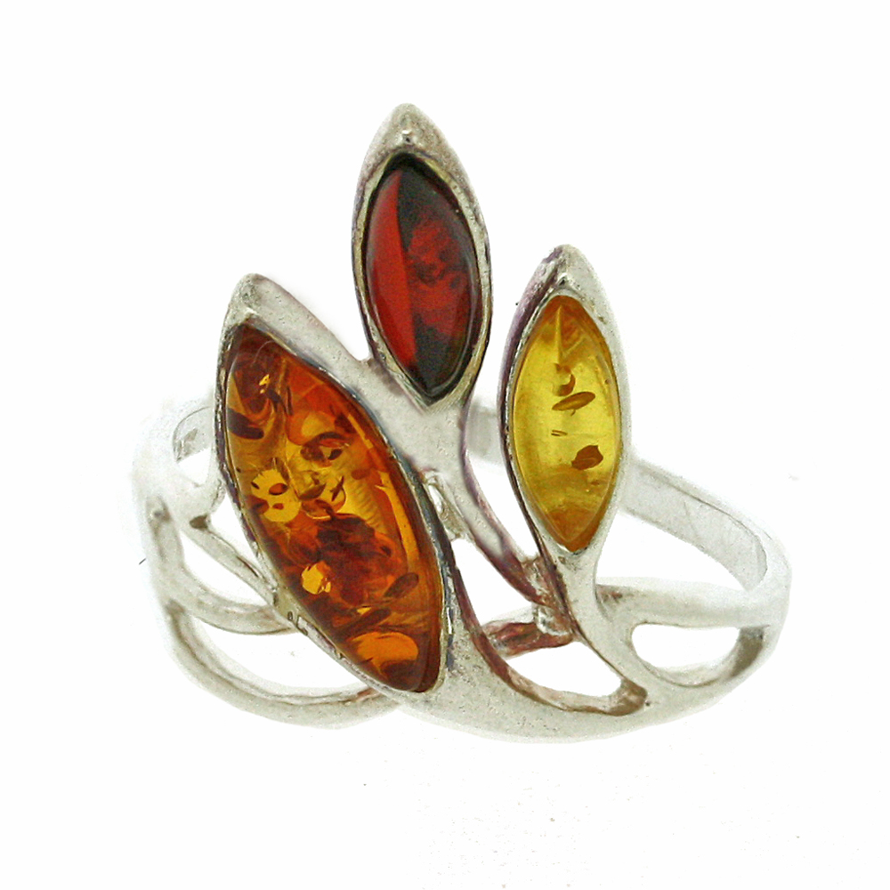 Classic Amber Mixed Amber Leaf Ring