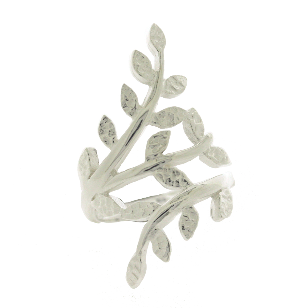 Kitten Textured Leaves Ring