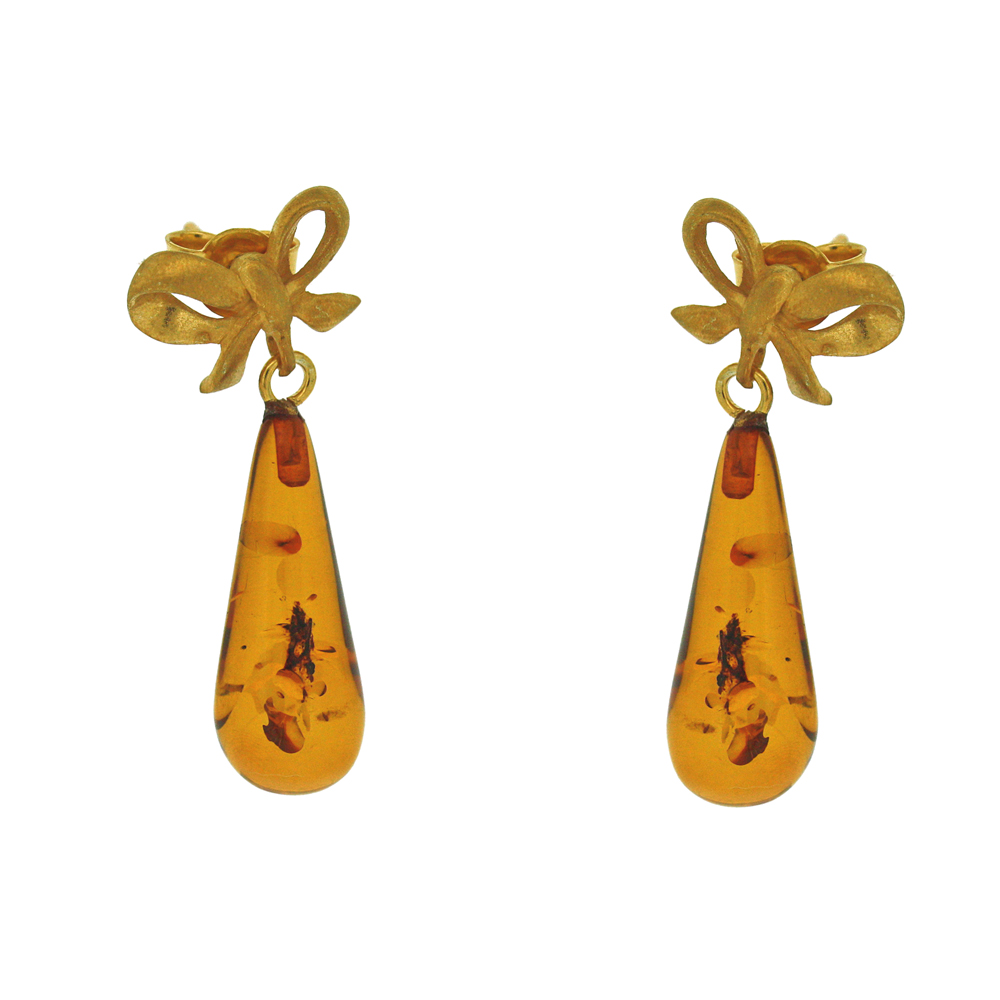 Amber Art Bow Raindrop Earrings