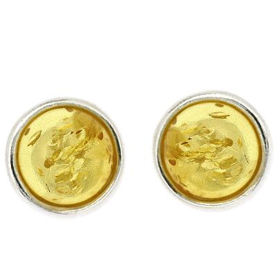Classic Lemon Amber Circle Studs
