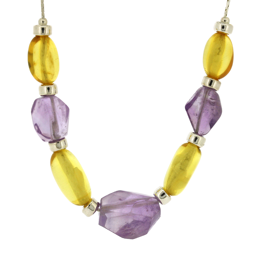 Lemon Amber and Amethyst Necklace