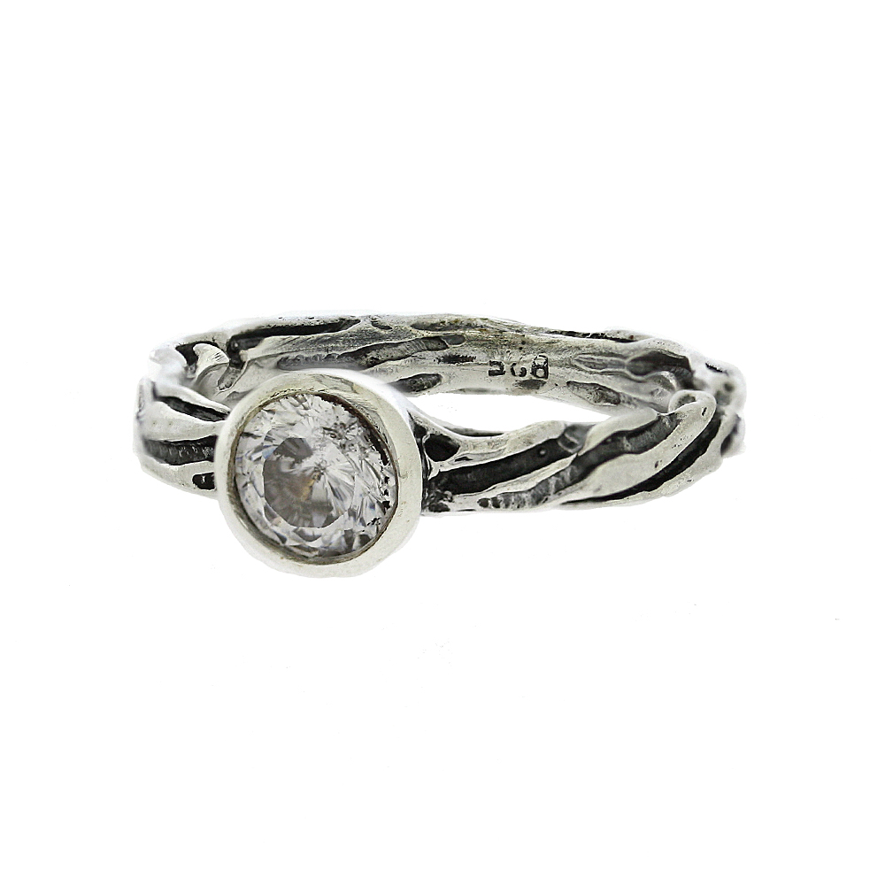 Bark Ring with Cubic Zirconia