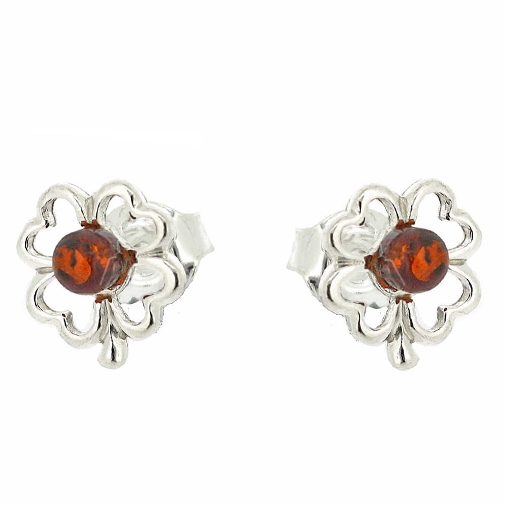 Classic Amber Four Leaf Clover Studs