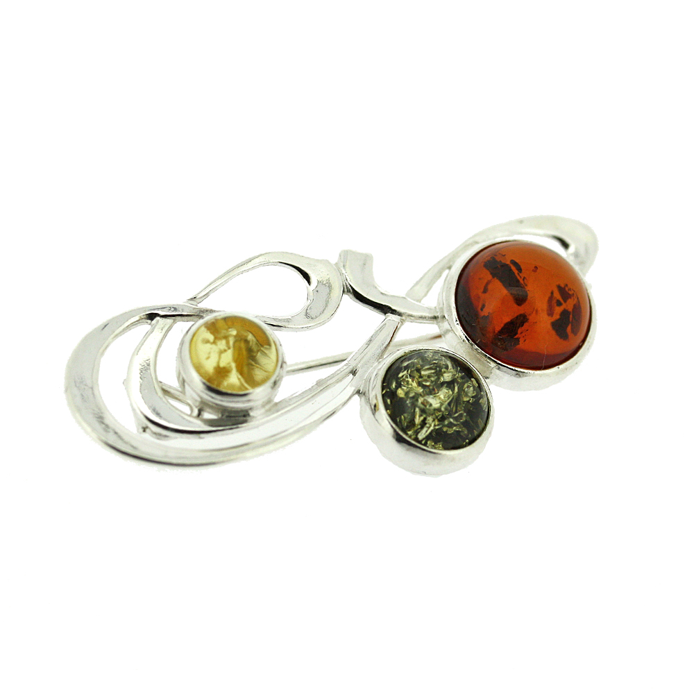 Classic Amber Mixed Amber Signature  Brooch