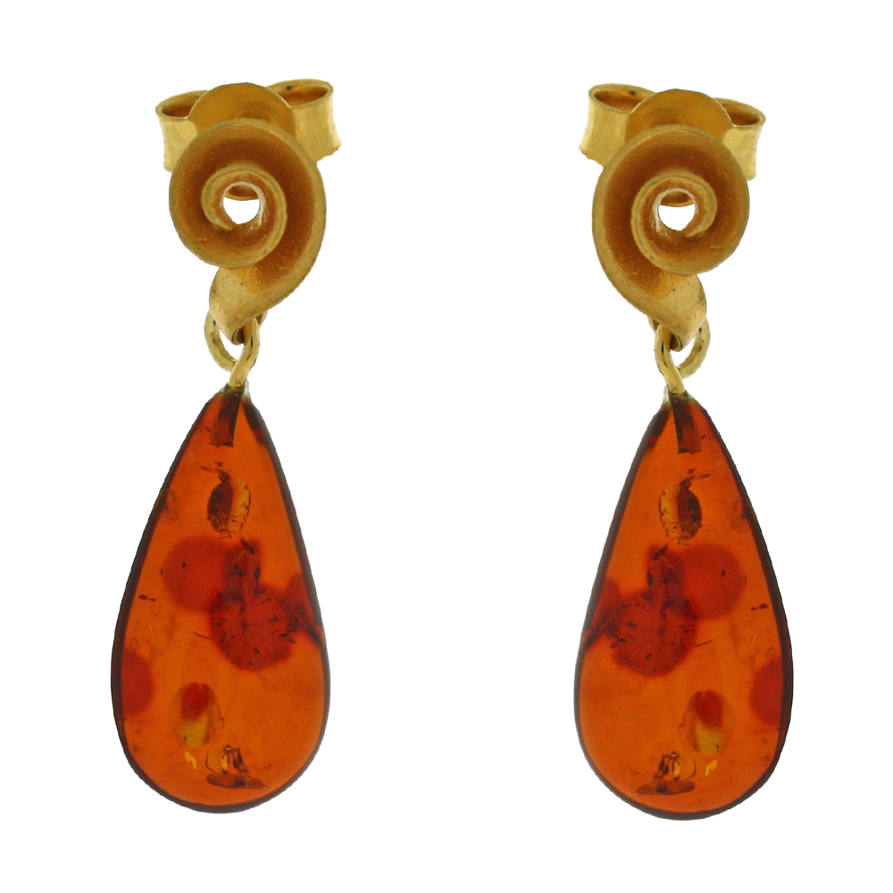 Amber Art Spiral Drop Earrings