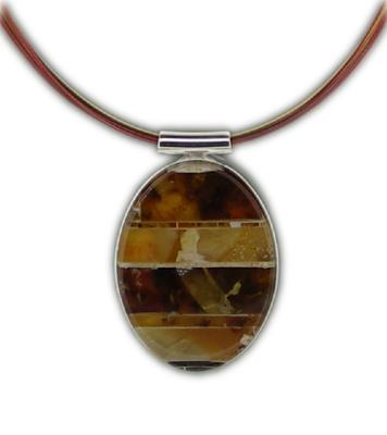 Mosaic Amber Oval Necklace