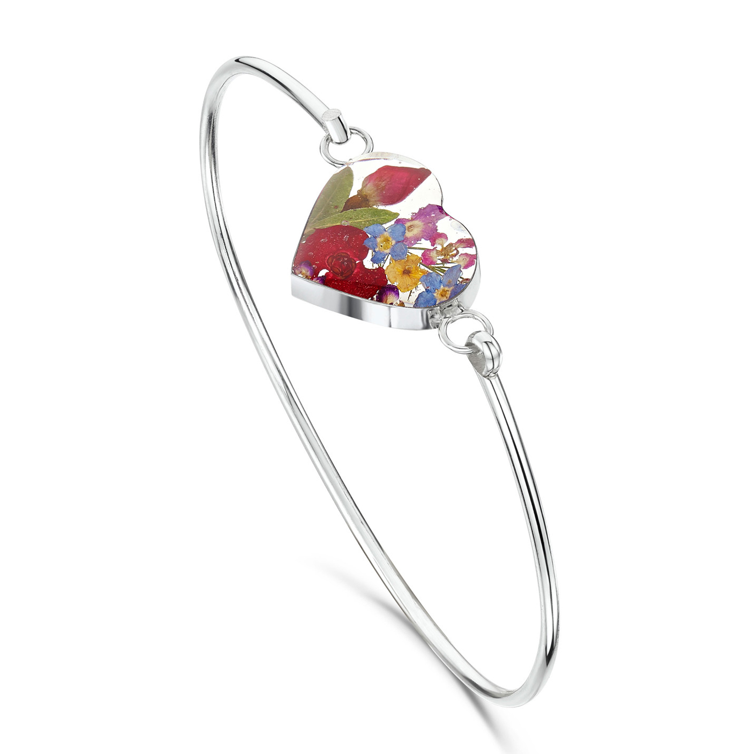 Shrieking Violet Mixed Flower Heart Bangle