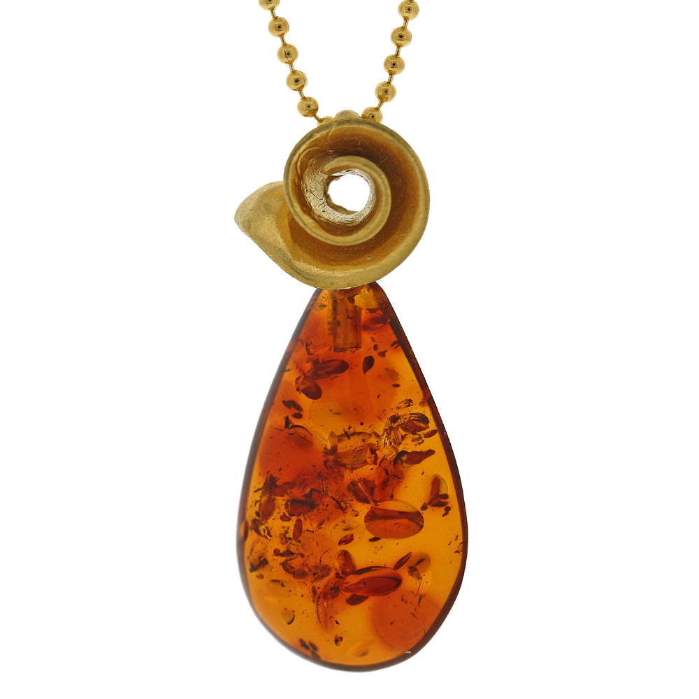 Amber Art  Spiral Necklace