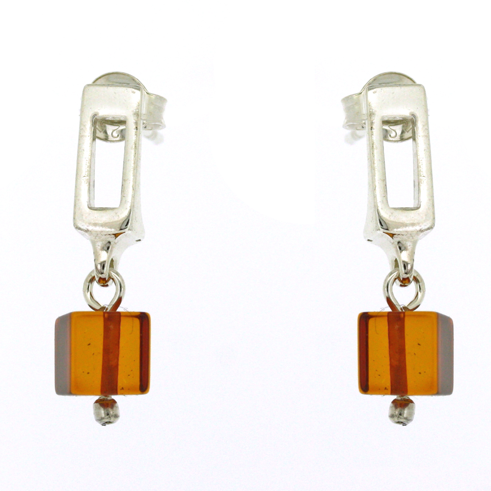 Amber Cubes Drop Earrings