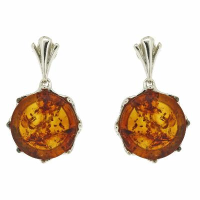 Classic Amber Wave Crown Earrings