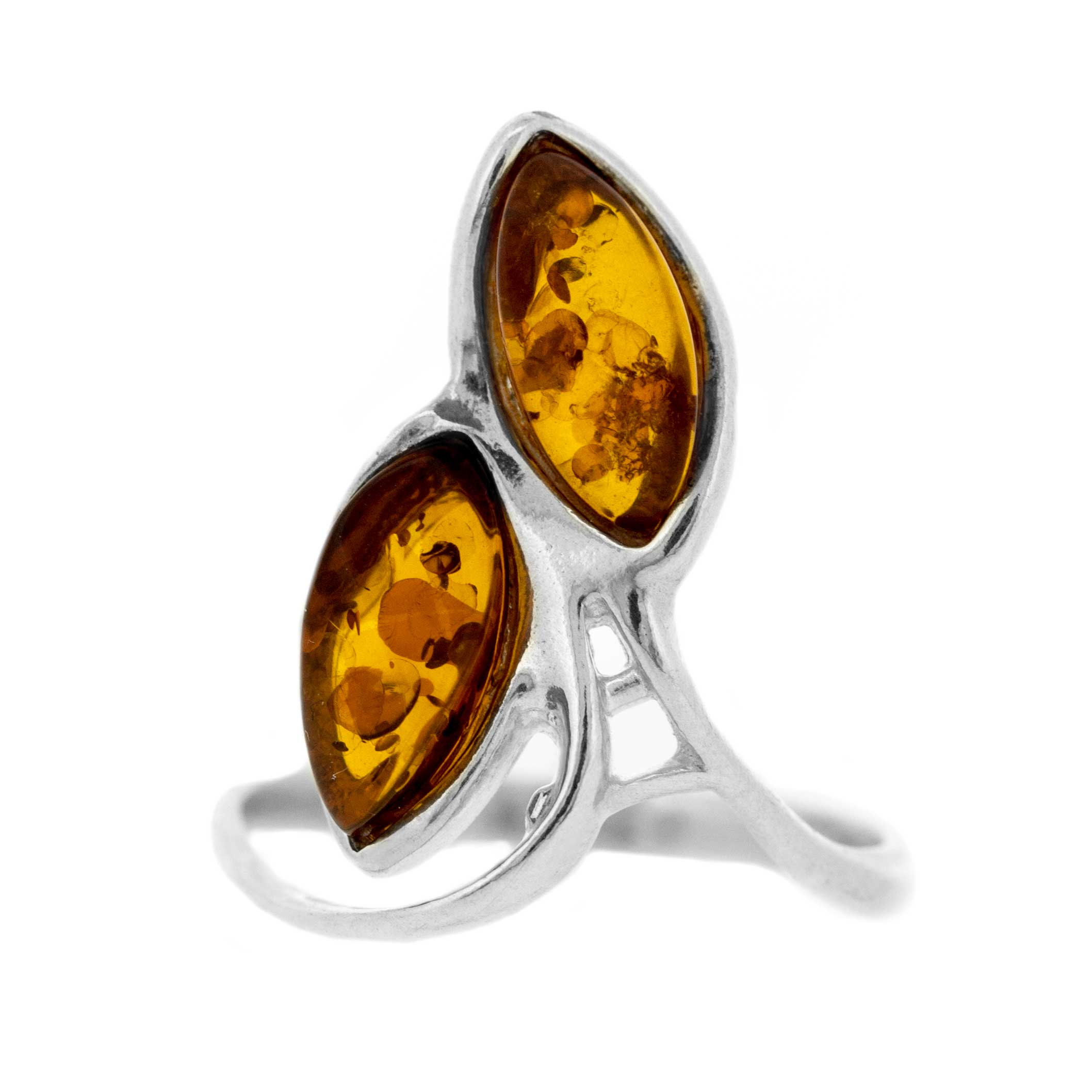 Classic Amber Two Leaves Ring