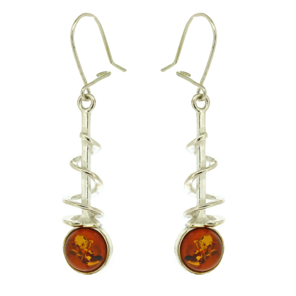Classic Amber Corkscrew Earrings
